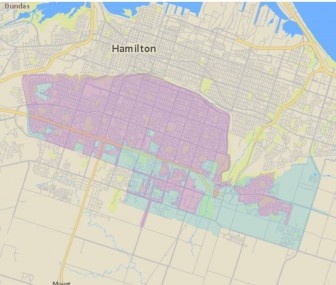 A Canada Post Map showing areas (pink) being converted to community mailboxes on Hamilton Mountain this spring.  (Area's in light blue already have community mailboxes)
