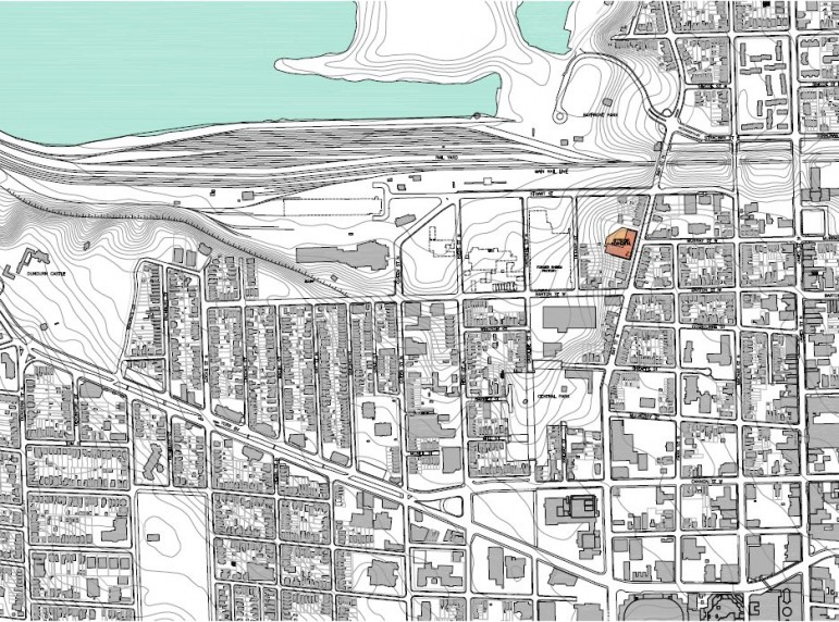 City of Hamilton Neighbourhood Map shows land mass of CN rail yard which separates two neighbourhoods from the West Harbour waterfront