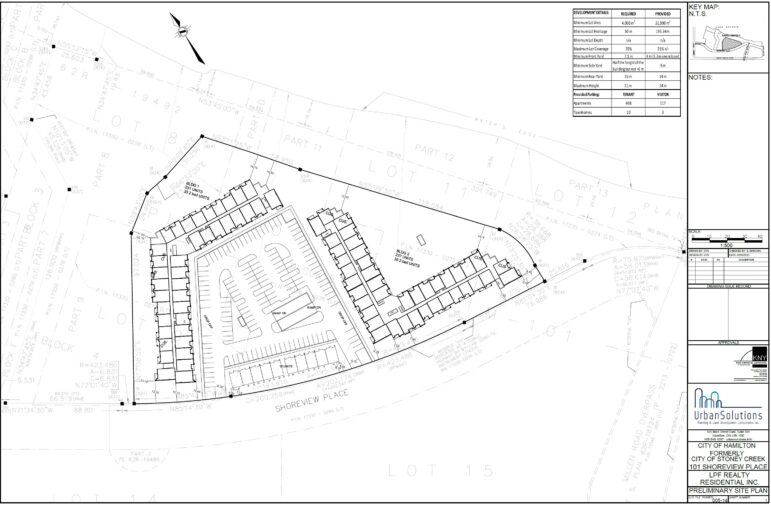 Site Plan for 101 Shoreview Place in Stoney Creek