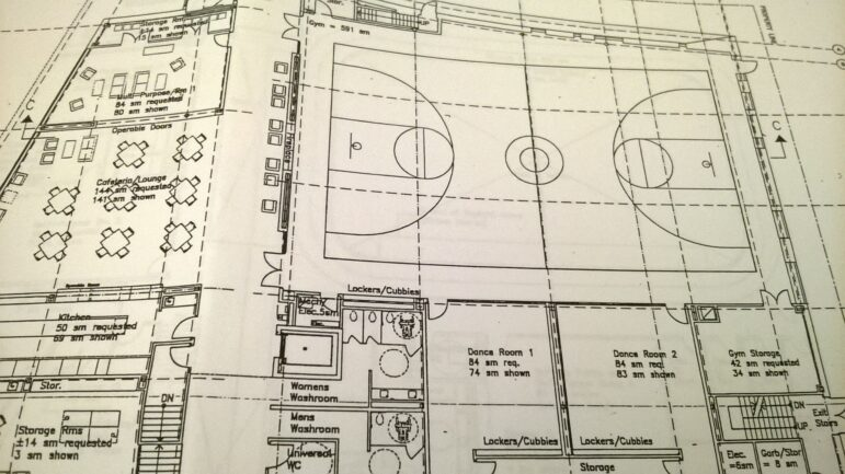 Plans for the first floor gymnasium area of the Bernie Morelli Recreation Centre.