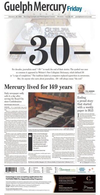 The Final Front Page of The Guelph Mercury