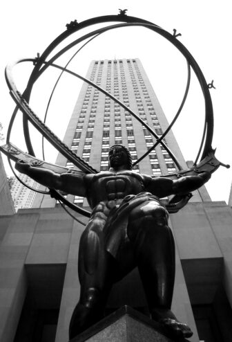 Statue of Atlas at Rockefeller Centre in New Year City.