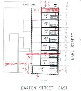 Sketch of 647 Barton development showing road widening