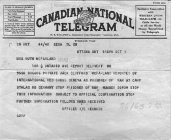 Telegraph sent to Private Jack McFarland's mother informing her of his capture at Dieppe