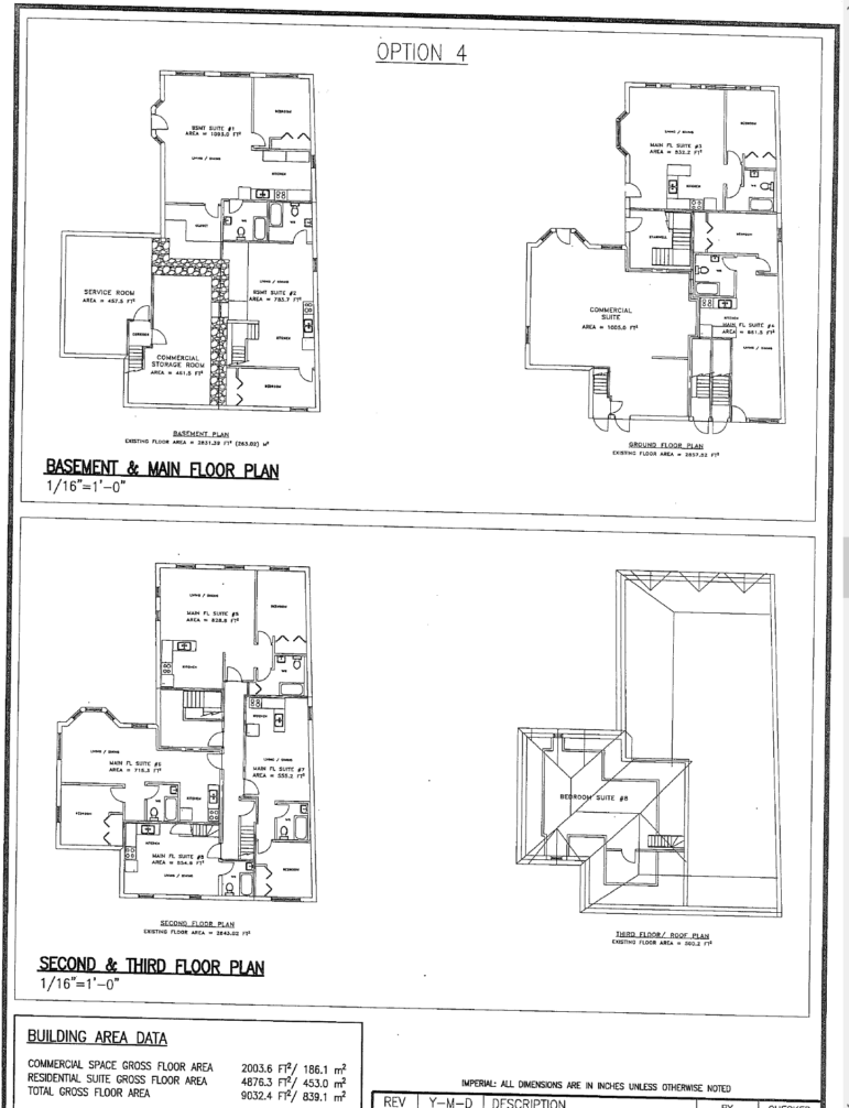 646 Main Street East Floor Plans as submitted to the Committee of Adjustment