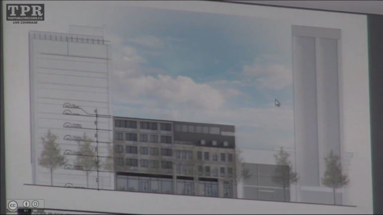 Captured from Video Camera, the slide presented by David Premi of the proposed redevelopment of 18-28 King Street East in Downtown Hamilton