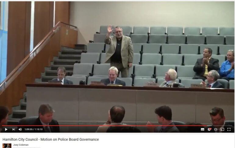 McMeekin acknowledging Council during a June 2013 Council where he sat observing in the public gallery.