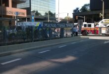 Photo of paramedics and firefighters tending to a woman struck by a HSR bus on July 21, 2016 at the MacNab Transit Terminal