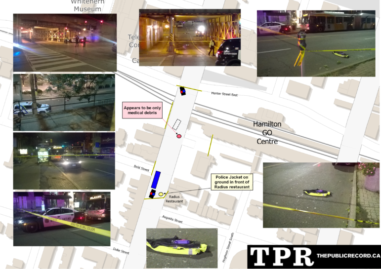 An approximate layout, with photos, of the scene of a Hamilton Police involved shooting on James Street South late Friday, September 30, 2016