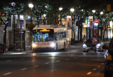 A Burlington Transit bus in Downtown Hamilton at night. Generic photo for illustrative purposes